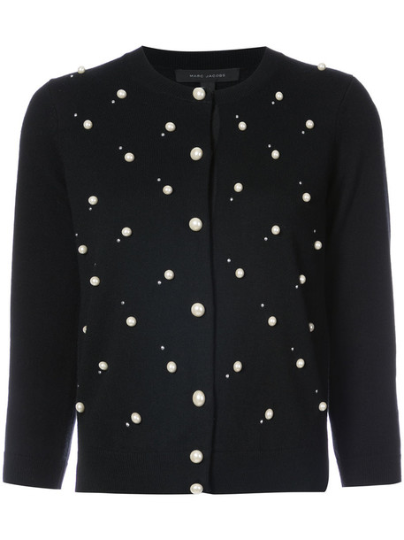 Marc Jacobs cardigan cardigan women pearl embellished black wool sweater