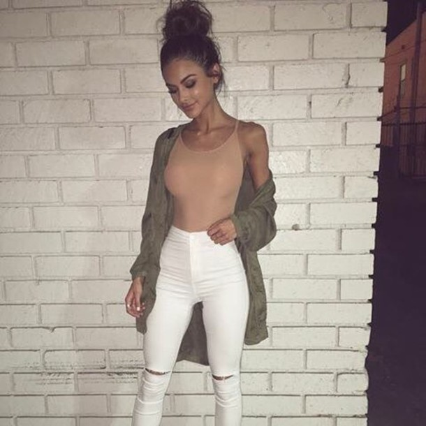 top tumblr outfit outfit idea nude bodysuit jacket cute tumblr baddies green green jacket sophia miacova shoes heels coat olive green jacket jeans white jeans jumpsuit beige bodysuit nude bodysutiit outfit shirt white pants tank top army green nude tank top bomber army jacket olive green khaki cardigan baddies instagram long oversized olive green girly urban comfy fall outfits spring outfits