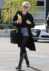 miley cyrus,boots,bucket bag,black coat,ripped shorts,lace up boots,shorts,bag
