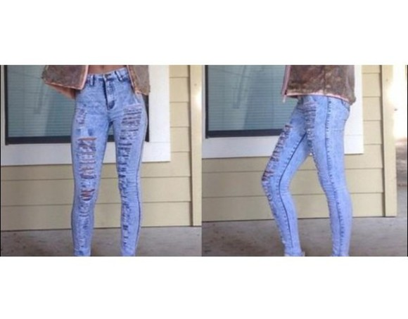 jeans ripped torn light wash distressed