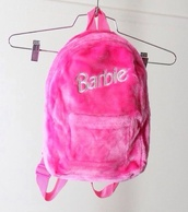 bag,backpack,pink,barbie,fluffy bag,furry backpack,pink backpack,barbie bag,fluffy
