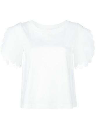 t-shirt shirt women scalloped white cotton top