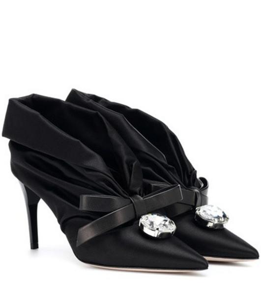 Miu Miu Embellished satin pumps in black