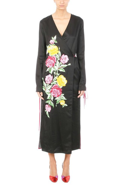Attico dress wrap dress floral wrap dress floral black