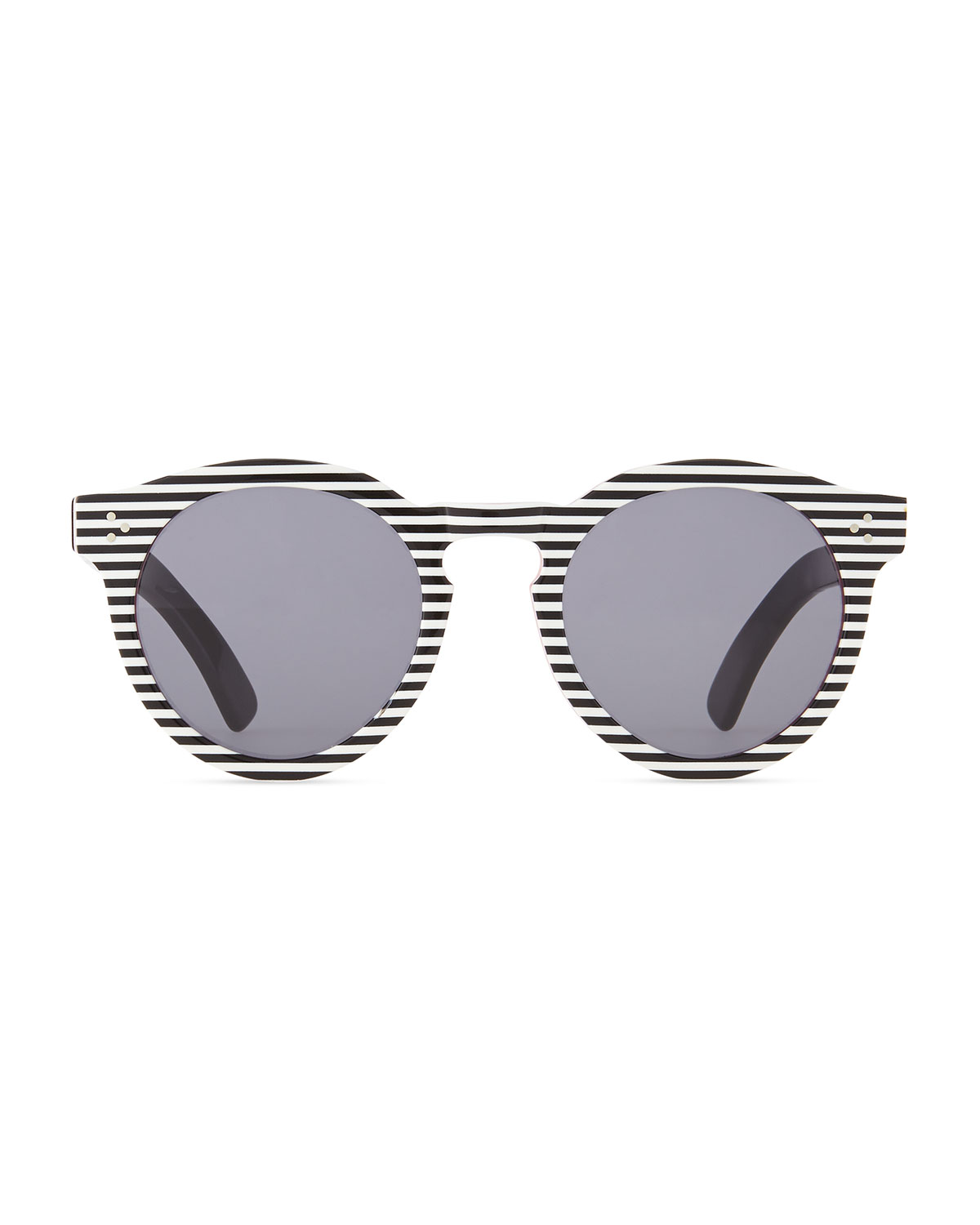Illesteva Leonard II Striped Sunglasses, Black/White