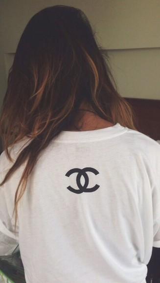 t-shirt chanel t-shirt white fashion style tshirt dress tumblr outfit cute dress