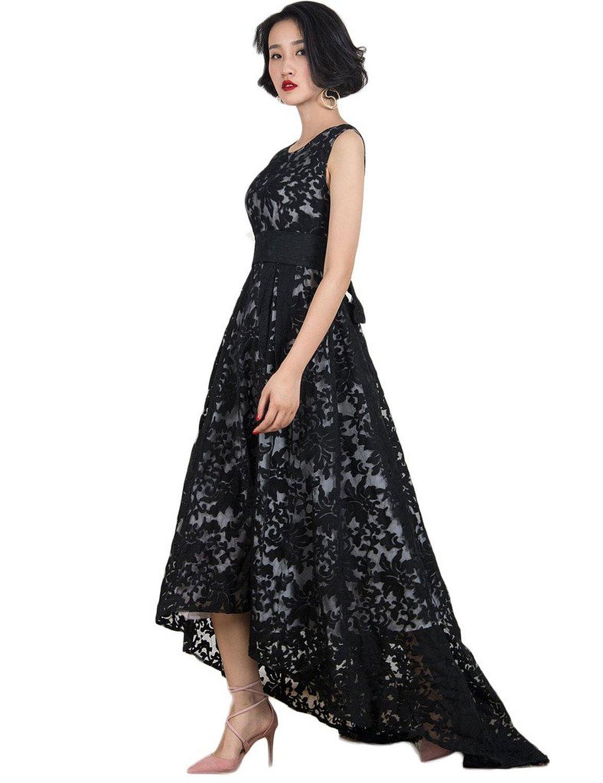 Women's Black Elegant Lace Sleeveless Hi-lo Maxi Dress Formal Gown ...