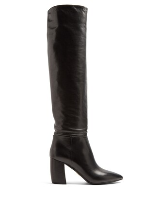 knee-high boots high leather black shoes