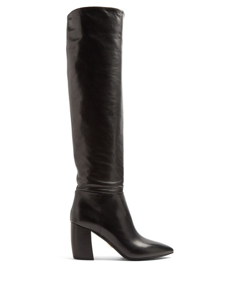Prada knee-high boots high leather black shoes