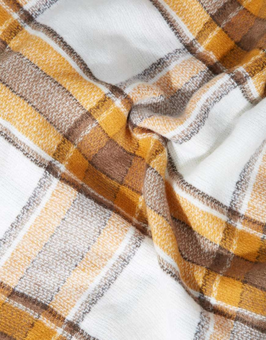 ASOS Oversized White Base Tobacco Check Square Scarf at asos.com