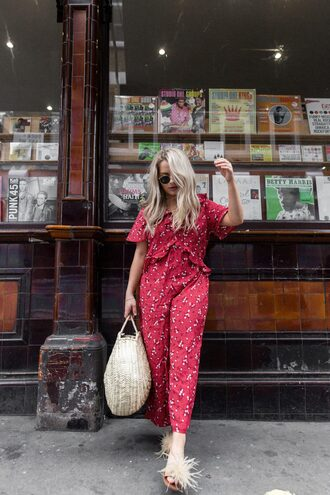 jumpsuit tumblr red jumpsuits bag straw bag woven bag shoes furry shoes