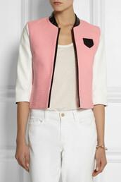 jacket,karl lagerfeld,sienna tweed and faux leather blazer,blazer,pink