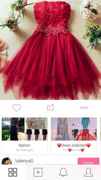 red red dress prom dress cute dress dress floral dress roses date tulle dress fashion style girly