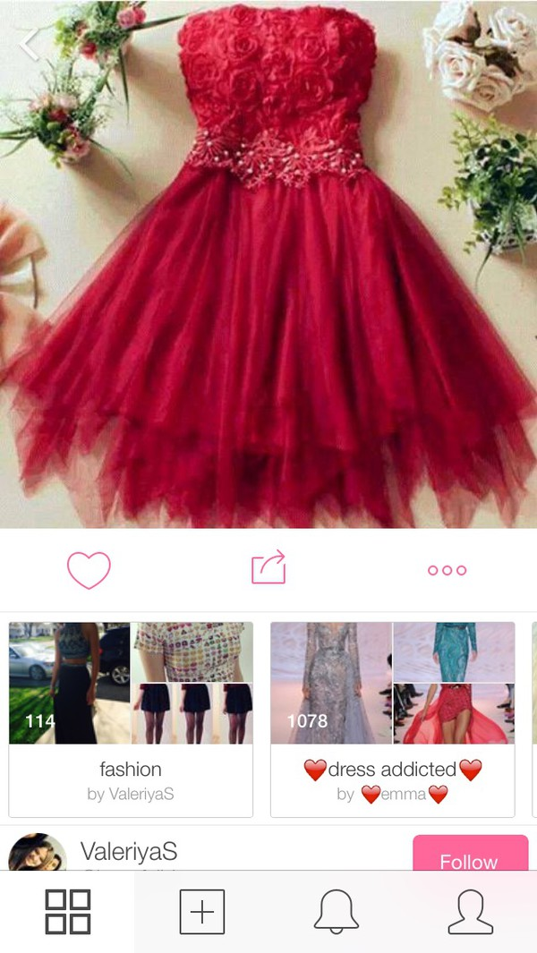 red dress cute dress dress floral dress red roses prom dress date outfit tulle dress fashion style girly