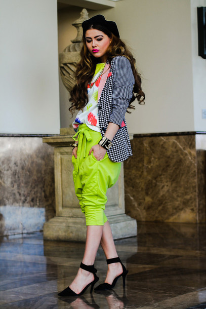 fated to be hated blogger harem pants lime colorful blazer