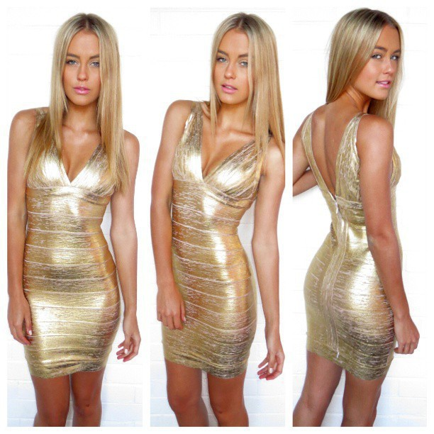 Women evening dresses new fashion gold foil print bandage mini dress new fashion celebrity prom dress wholesale hl7979