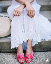 shoes,gold ring,tumblr,pink shoes,mules,velvet,velvet sandals,ring,jewels,jewelry,gold jewelry