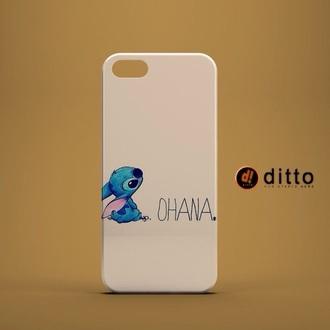 phone cover stitch blue alien white ohana