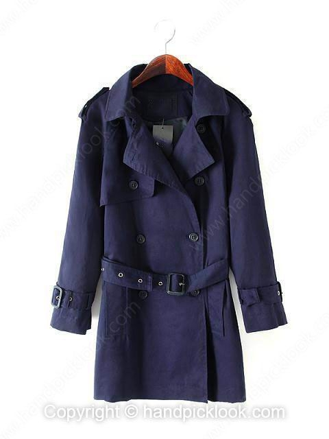 Dark Blue Contrast Lapel Long Sleeve Button Coat - HandpickLook.com