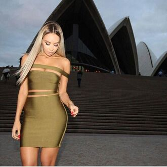 dress mischievous socialite bandage dress olive green cut-out off the shoulder sexy blonde hair bodycon mini balmain