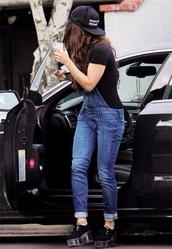 hat,vanessa hudgens,jeans,shoes