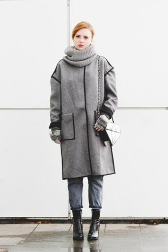 kristina magdalina blogger scarf coat bag jeans