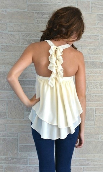 tank top top ruffles cream top blouse white flowy top wavy cute open dressy shirt white shirt beige cream chiffon flowy white tank top white summer top off white, flowing flowy, floral bows