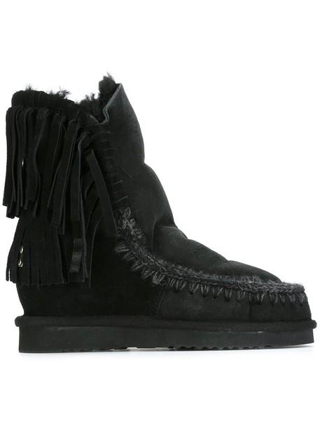 Mou 'Short Fringe Eskimo' boots, Women's, Size: 38, Black, Sheep ...