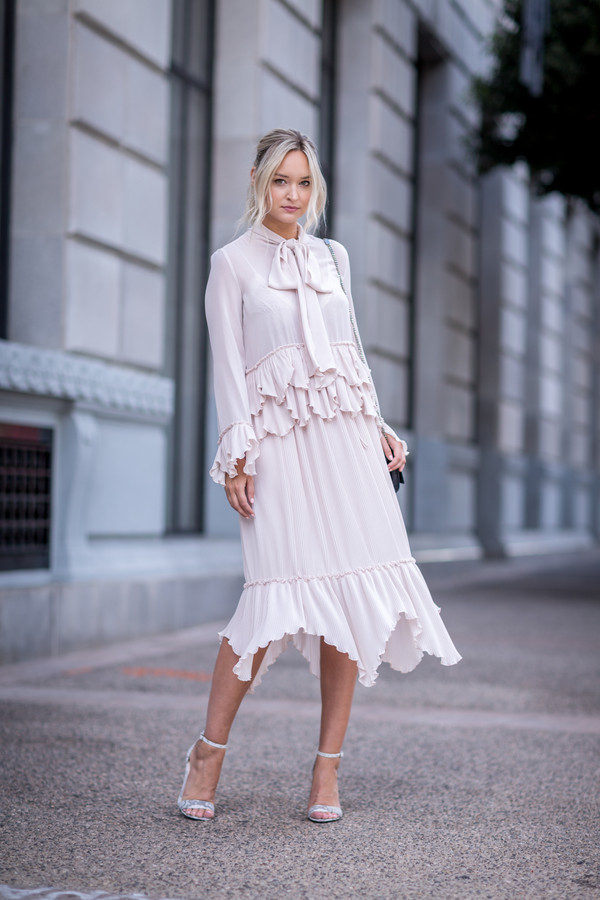 late afternoon blogger top skirt shoes jewels bag sandals midi dress summer outfits long sleeve dress