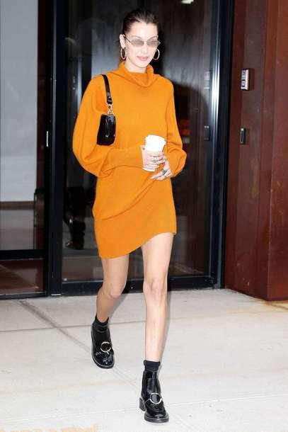 sweater model off-duty bella hadid streetstyle fall outfits orange orange dress sweater dress