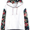 White hooded contrast floral loose sweatshirt -shein(sheinside)
