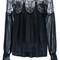 Chloé lace insert blouse, women's, size: 34, blue, cotton/linen/flax/polyamide/silk