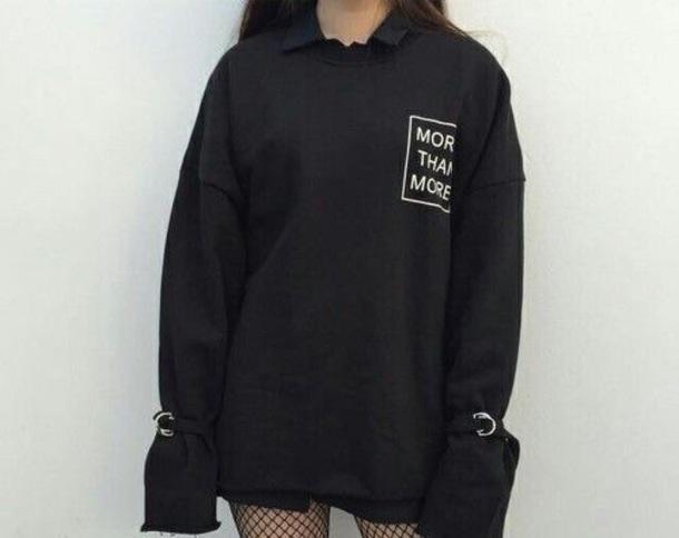 sweater sweatshirt black black sweater black jacket white black and white