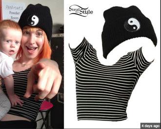 hat beanie black yin yang hayley williams paramore shirt