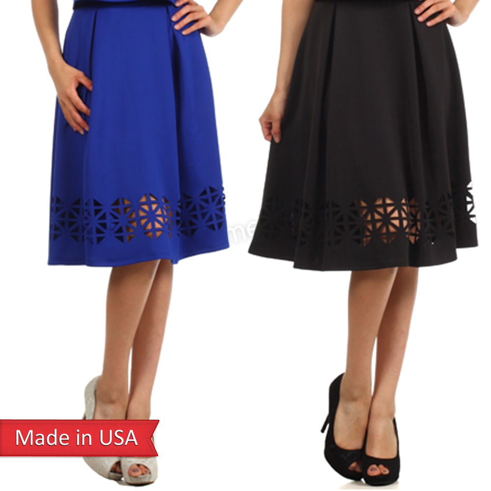 Women holiday laser cut detail solid color knee length a line flare skirt usa