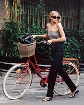 jeans,dark blue,top,sunglasses,bike,handbag,basket bag,wide-leg pants