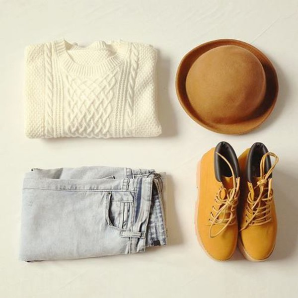 jeans felt hat knitwear sweater shoes hat