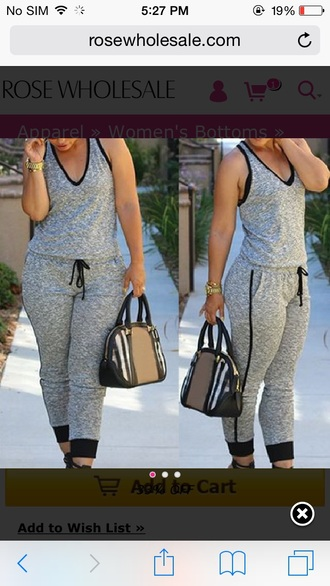 gold watch tartan purse grey sweatpants grey jumpsuit summer outfits summer comfy v neck