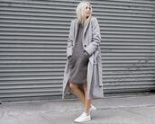 dress,All grey outfit,all grey everything,grey dress,casual dress,coat,grey coat,grey trench coat,trench coat,sneakers,blonde hair