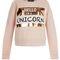 Teens shell pink unicorn print foil sweater