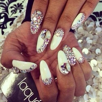 jewels diamonds nail polish nail art white white nailpolish white nails rhinestones silver nails