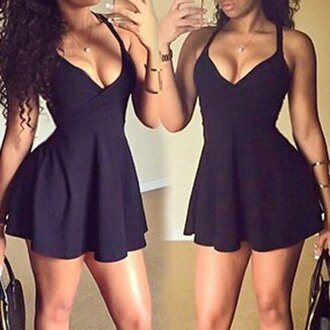 dress black fashion style girly sexy hot rose wholesale-feb