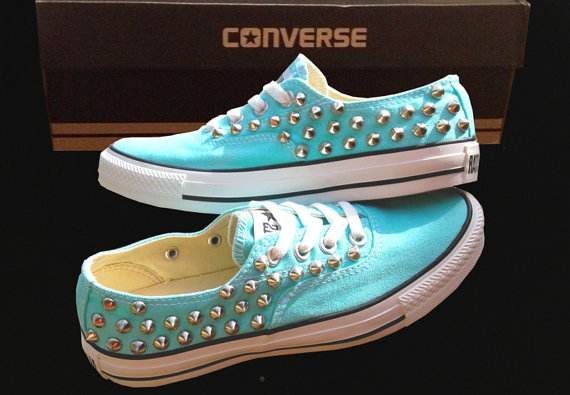 TIFFANY BLUE CONVERSE Studded Shoes Sale Custom Shoes All Star Chuck Mint Aqua Sky Blue on Wanelo