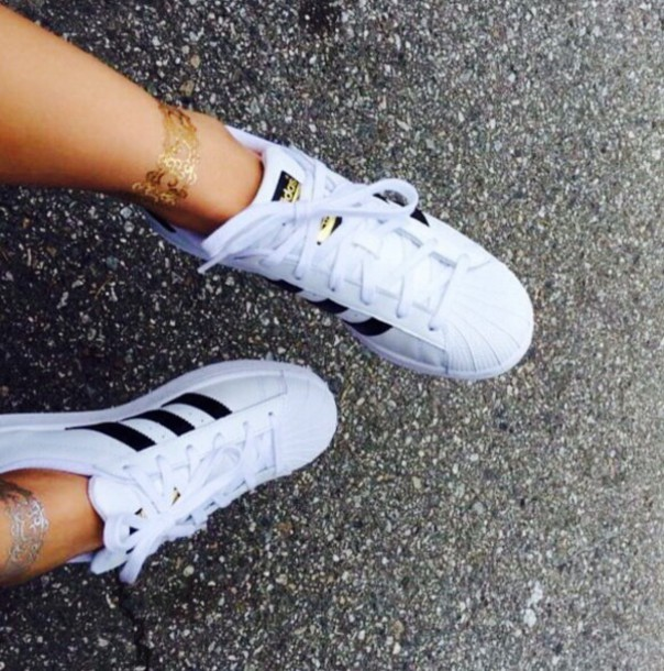 Adidas Superstar Shoes White And Gold