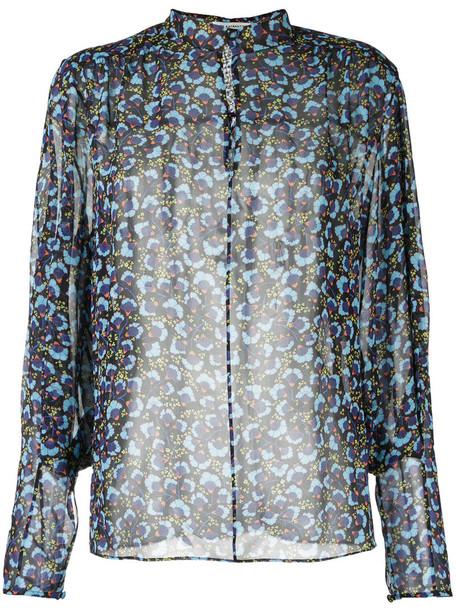 MARY KATRANTZOU blouse sheer women print blue silk top