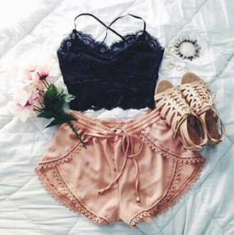 shorts summer pink top lace summer shorts flowers