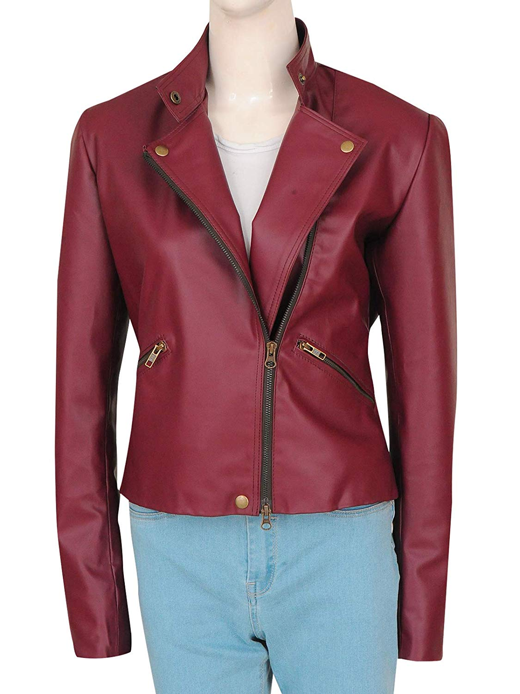 TrendHoop Women Fashion Stylish Zipper Maroon Leather Brando Biker Jacket at Amazon Women's Coats Shop