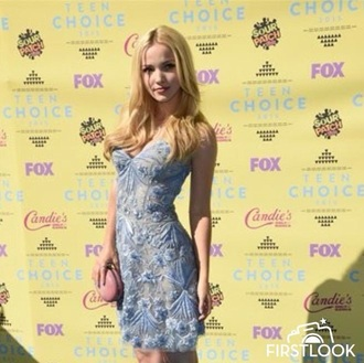 dress dove cameron teen choice teen choice awards blue light blue dress floral light blue liv and maddie liv & maddie short dress