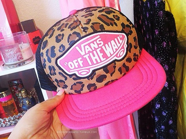 hat vans leopard print cheetah and pink trucker hat