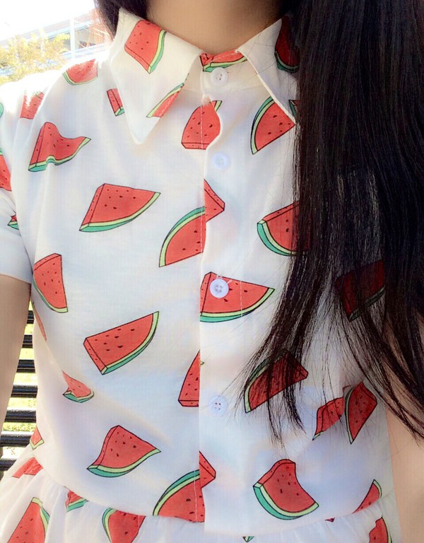 top blouse collage vintage button up blouse watermelon print t-shirt cute jewels